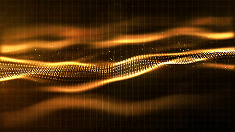 HI- TECH digital gold color wave particles flow motion background Animación