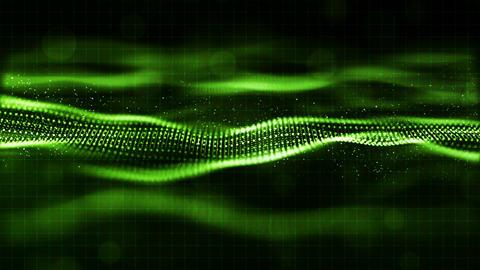 HI- TECH digital green color wave particles flow motion background Animation