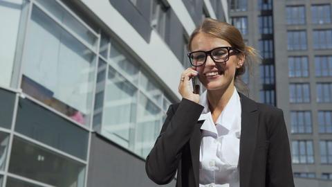 Joyful Businesswoman Talking on Phone Footage