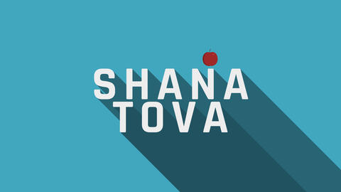Rosh Hashanah holiday greeting animation with red apple icon and english text Animation