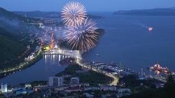 Celebration fireworks on Day of Fisherman (Fisherman's Day) Footage