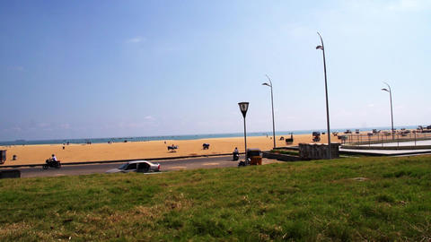 Grass Field Near Chennai Marina Beach. Marina beach is the second longest beach Live Action