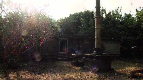 Temple exterior, nature background, sun flare Footage