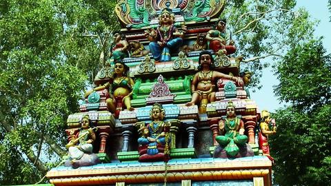 Tilt up Exterior Shot Hindu temple, South India (2) Footage