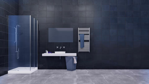 Bathroom interior with copy space dark tiled wall GIF