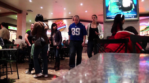 People walking, People eating in fast food restaurants, Las Vegas shopping Mall Footage