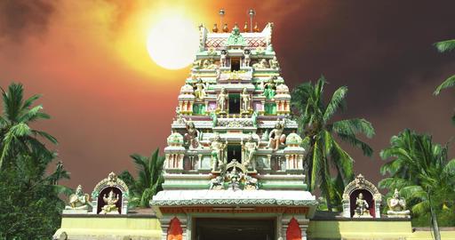 Time lapse. Hindu temple exterior, Sunrise Footage