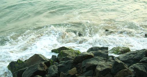 Sea waves hitting - Sea waves hitting rocks on the coast (2) Footage