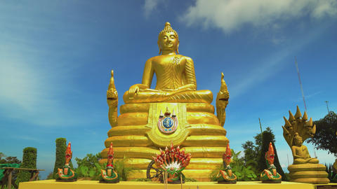 the golden buddha, the religious shrine of Asia. Travel and tourism. Buddhism Live Action