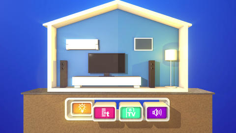 Switched smart house on a wooden stand CG動画