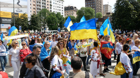 Ukrainian community takes part to demonstration in Milan, Italy Live Action