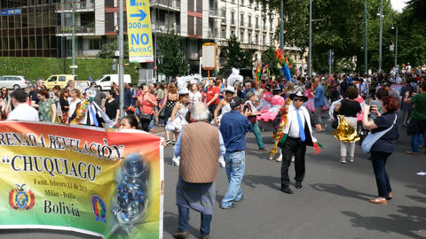 Bolivian community takes part to demonstration in Milan, Italy Live Action