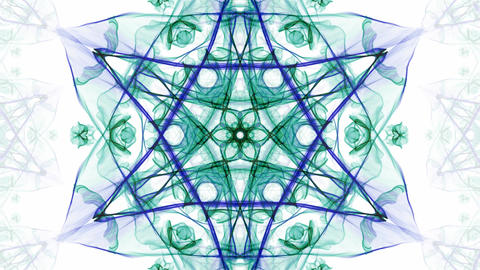 Green and blue watercolor symmetric star patterns in divergent and convergent Animation
