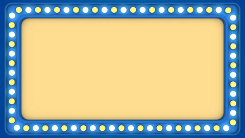 Flashing light bulbs blue frame border screen sign casino background loop GIF