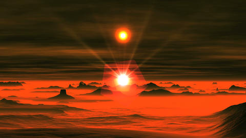 Two Suns over Alien Planet Animation