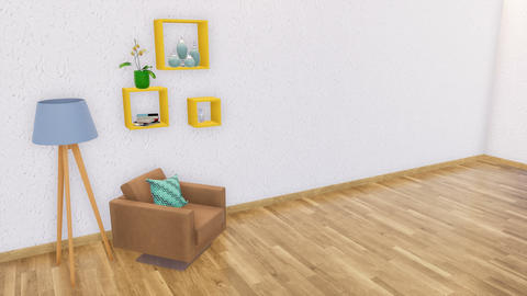 Modern minimalist interior with copy space wall 3D Footage