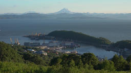 Summer top view of Petropavlovsk Seaport in Pacific Ocean. Time lapse GIF