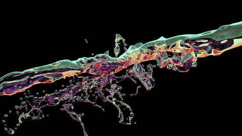 Water splash, colorful liquid slow motion Animation