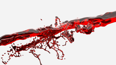 Water splash, red liquid slow motion Animation