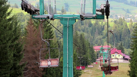 Chair lift in Carpathian Mountains, Ukraine Footage