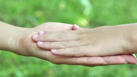 Female and childrens hands on grass background. Three hands together Footage