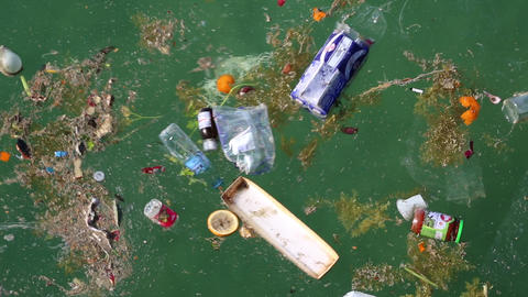 Garbage floats in the sea. Abuse of environment Footage