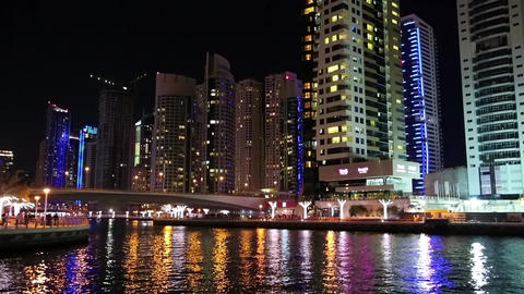 Fantastic night Dubai Marina, United Arab Emirates Footage