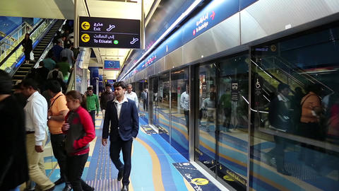 People inside Dubai metro station, United Arab Emirates Footage