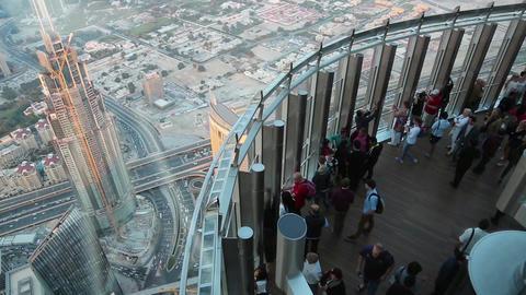 People On Observation Deck At The Top, 124 Floor, Burj Khalifa Skyscraper, Dubai stock footage