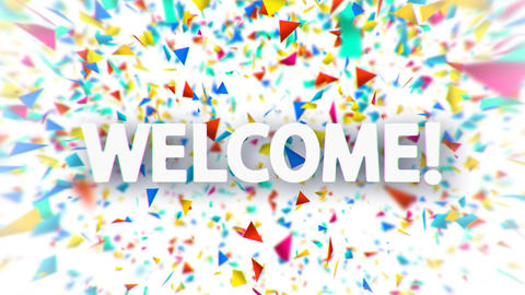 Welcome white sign with falling colorful confetti Animation