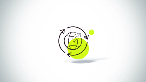 Arrows rotate with earth and leaf eco symbol flat animation Animation