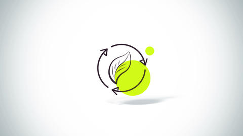 Rotate arrows with leaf eco symbol flat animation Animation