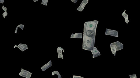 Raining Dollar Bills Loop (With Depth Of Field) Animation