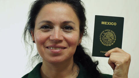 Woman Mexico Passport Portrait Closeup Footage