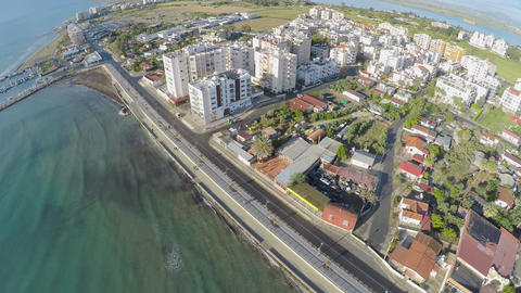 Stunning drone shot over embankment in Larnaca city, tourism in Cyprus Footage