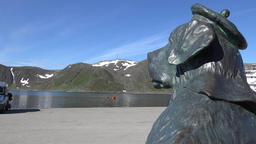 Europe Norway Honningsvåg at North Cape statue of a dog looks over the bay GIF