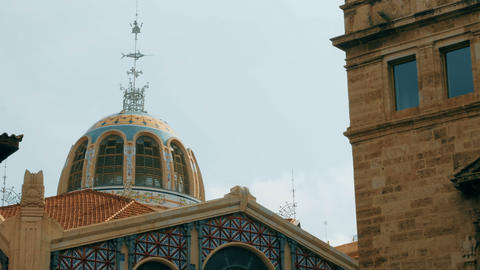 tracking shot on dome of the central market in Valencia, Spain ビデオ