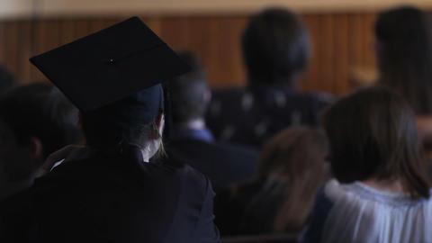 Female bachelor listening to teacher's speech in academy,…, Live Action