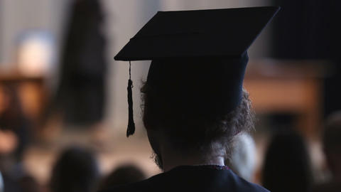 High achiever student enjoying graduation ceremony, employment and future Footage
