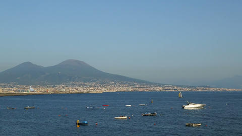 Boats floating in Bay of Naples, beautiful landscape of Mount Vesuvius, Italy 영상물
