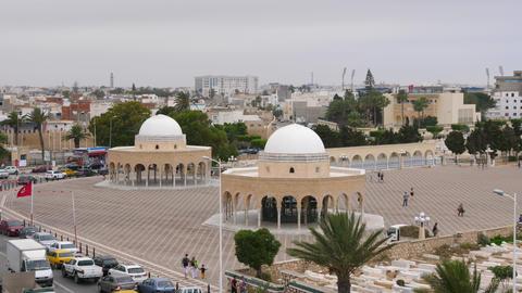 Monastir, Tunisia - 07 June 2018: Rotonda Mausoleum in Monastir city. People Footage