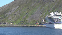 Europe Norway Honningsvåg at North Cape stern of Viking cruise ship Footage
