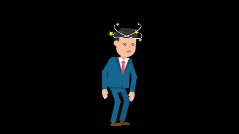 Corporate Man Being Dizzy Loop Animation