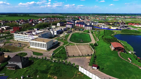 Sports ground in the city landscape. Football field from a bird's flight Archivo