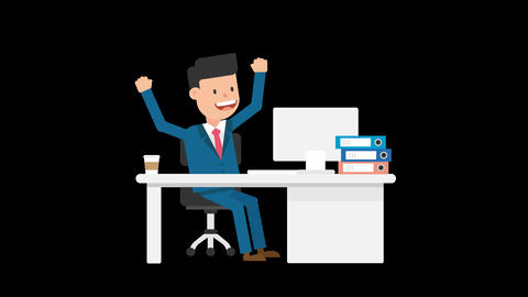Corporate Man Happy With His Work Loop Animation