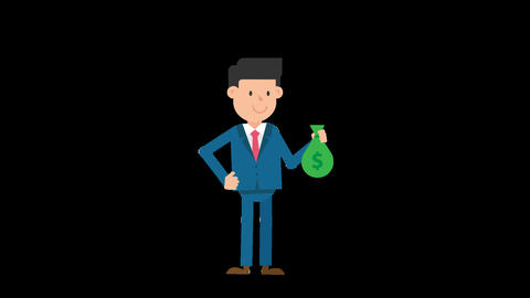 Corporate Man Holding a Sack of Money Loop Animation