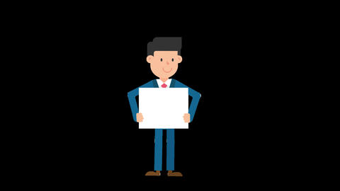 Corporate Man Holding a Whiteboard Standing Loop Animation
