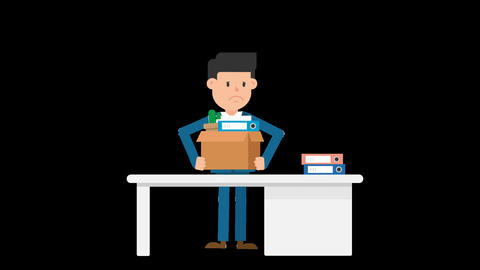 Corporate Man Packing His Things Loop Animation
