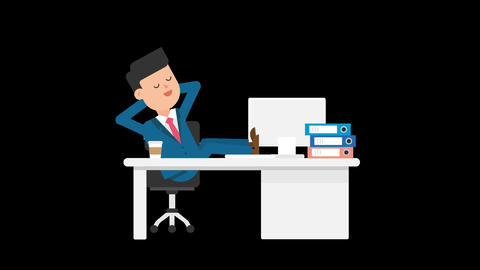 Corporate Man Sleeping at Work Animation