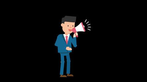 Corporate Man Using a Megaphone Loop Animation